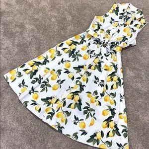 Button Down Dress Collar Lemon Pattern Small 4